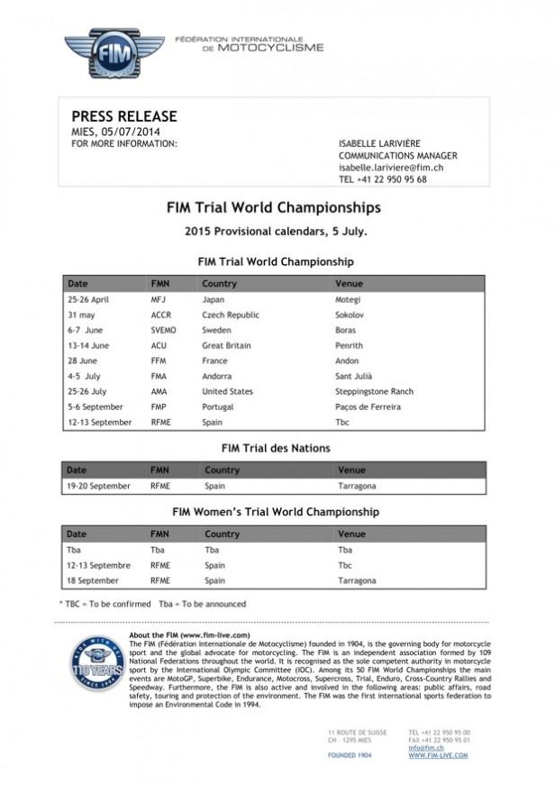 2015年FIM暫定カレンダー