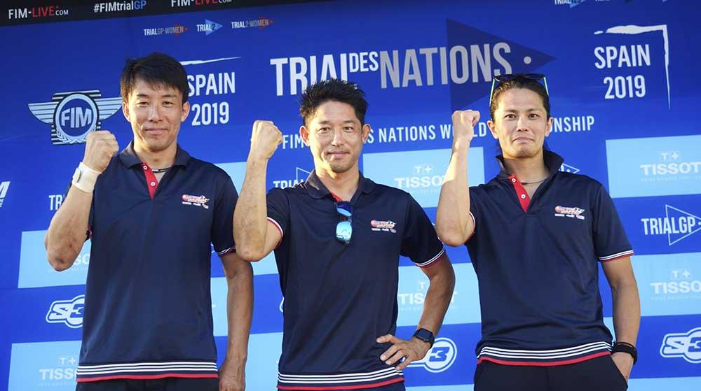 日本チーム。左から小川友幸、藤波貴久、黒山健一